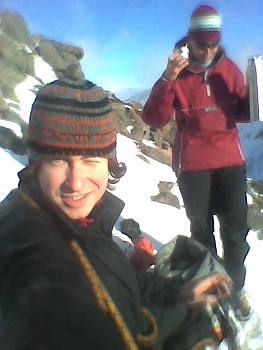 With Becky at the top of Afterthought Arete