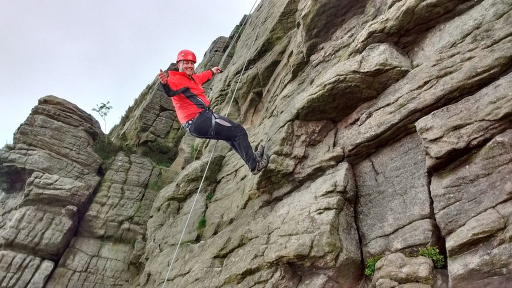 Rock climbing and abseiling in the Peak District